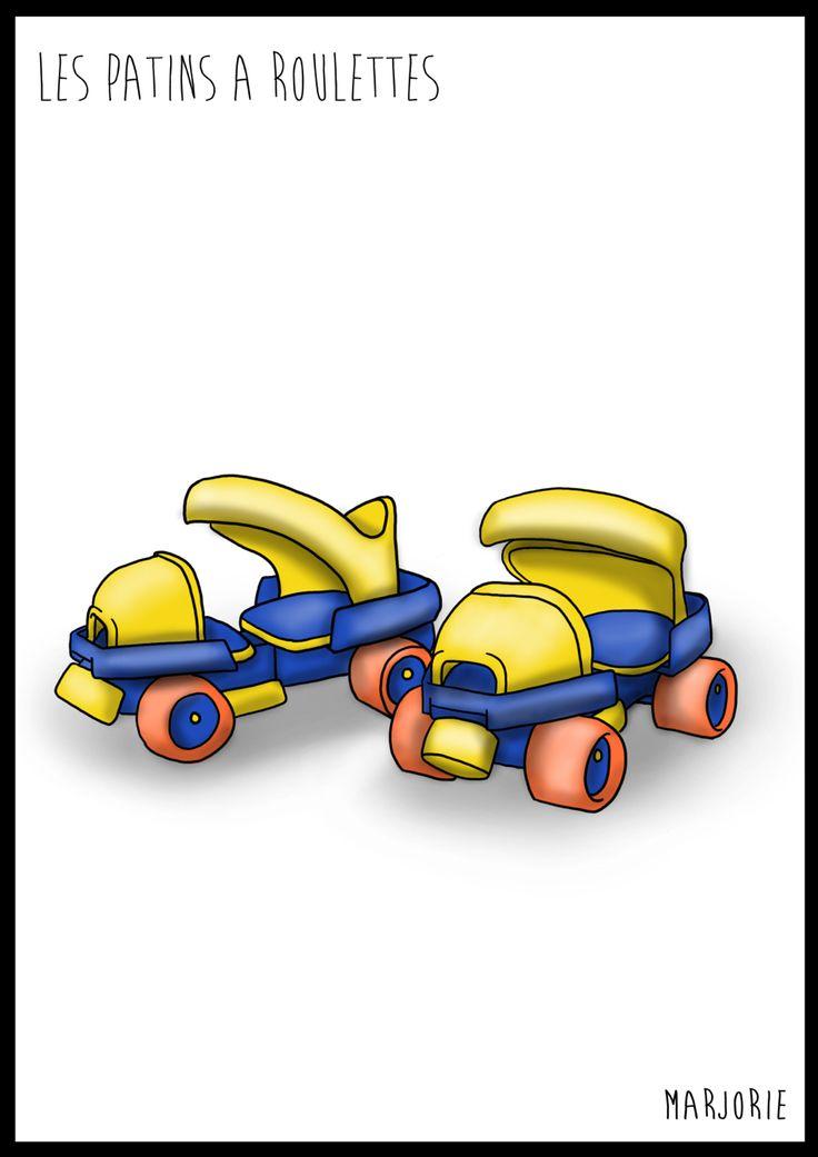 Illustration tableau chambre d enfant Patin a roulette