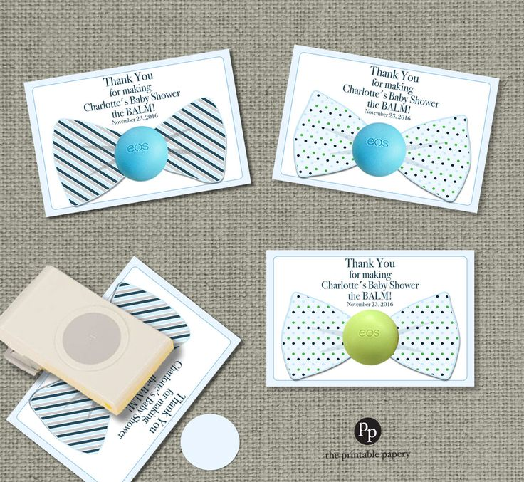 Attractive Bow Tie Baby Shower Gift Tags For EOS Lip Balm Gifts | Thank You Tags | Baby  Shower The Balm! | Blue Gray Green Favor Tags | BOW1 EOS1