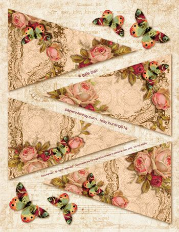 PaperWhimsy Product:Rosy Bunting PNG PDF