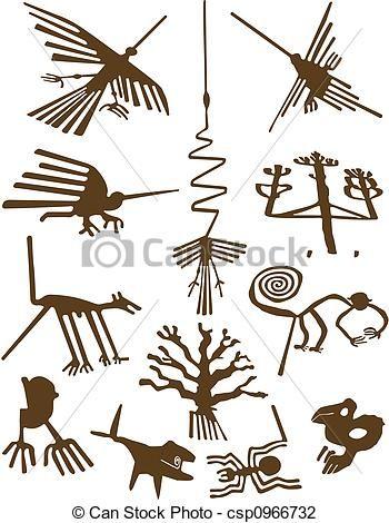 Stock de Ilustraciones - Nazca, líneas - stock de ilustracion, ilustracion libre de, stock de iconos de clip art, logo, arte lineal, retrato de EPS, Retratos, gráficos, dibujos gráficos, dibujos, imágenes vectoriales, trabajo artístico, Arte Vectorial en EPS