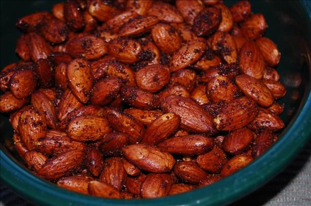 Hot and Spicy Nuts (Smoke House Almonds) from Food.com:   								If you love Smoke House almonds then you will love these! They are great for serving at holiday season or for get-togethers, or just to munch on at any time...better make lots these will go fast!
