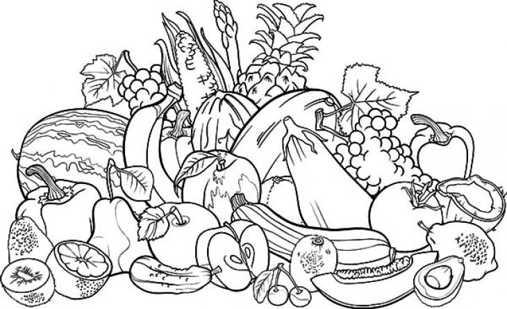 Fresh fruits and veggies in preschool coloring page free ...