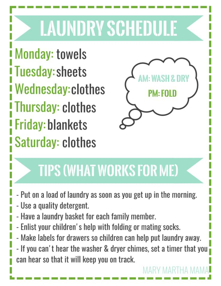 laundry schedule                                                                                                                                                                                 More