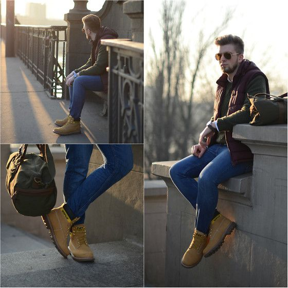 #style  #men's #outfit's  #clothes #chic #dapper #summer #casual #fashion #Caterpillar Shoes, C&A Bag, C&A Jacket