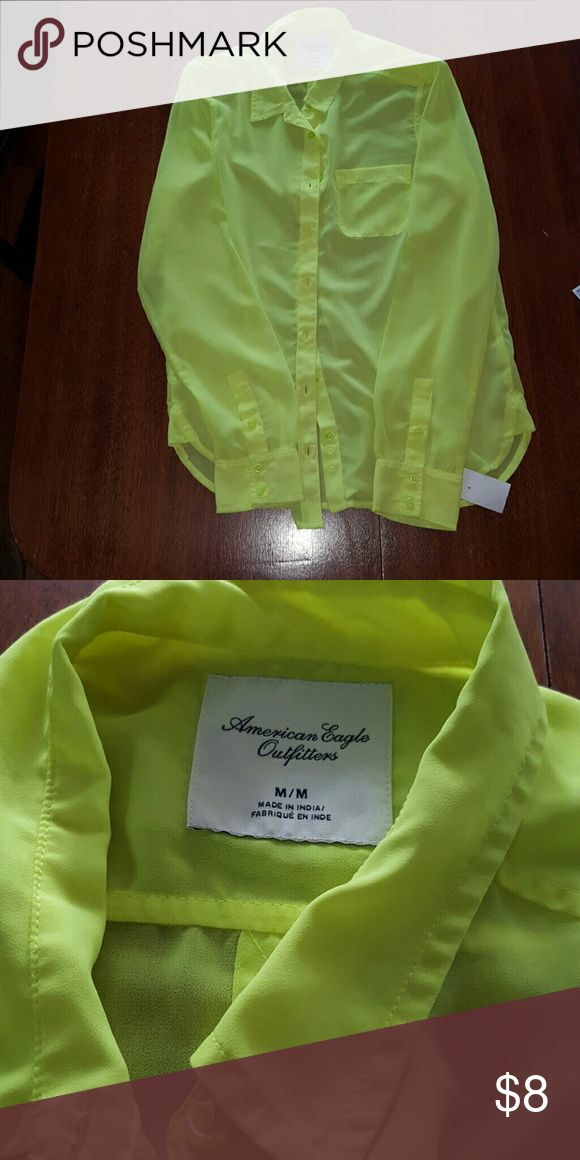 Lime green top! See through top! Still lots of wear left ! Ameican eagle outfitters American Eagle Outfitters Tops Button Down Shirts