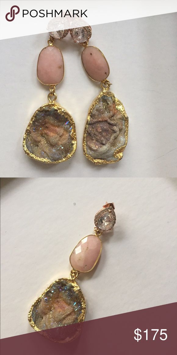 14k Stone Earrings Made by Rachel mulherin, a jeweler located in Baltimore. . rose gold CZ white quartz stud with 14 kt gold dropped earring with a rose quartz pink center and a hanging druzy geode of mixed colors depending on how the light hits in- hints if mostly pink and light blue .Never worn! NOT KENDRA SCOTT just used for views! One of a kind Kendra Scott Jewelry Earrings