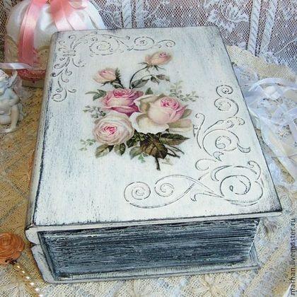 шкатулка декупаж, шкатулка-книга, книга, книжка, шебби шик, декупаж работы, купить в Москве, розы, шкатулки ручной работы, шебби стиль, декупаж, шкатулка деревянная