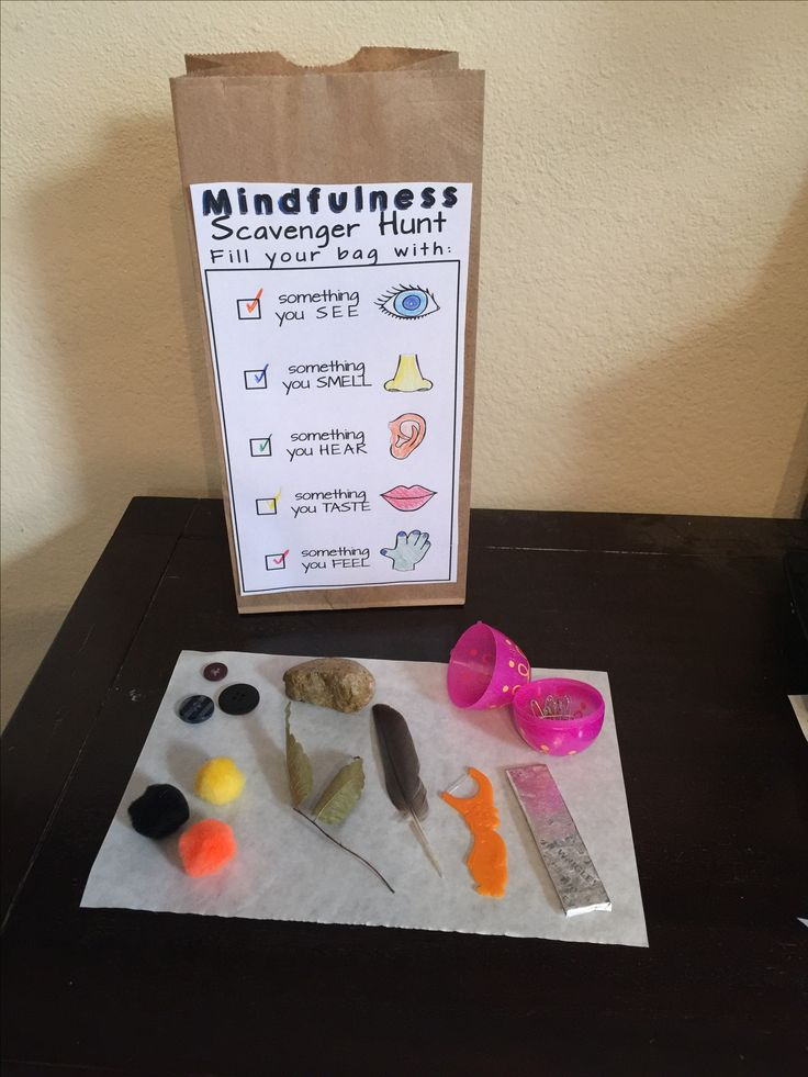 Mindfulness Scavenger Hunt. Teach the coping skills of mindfulness for anxiety management and concentration.