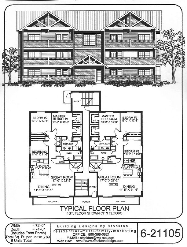 6 plex bigger unit 3 bar 72x74 apartment house plan for Two unit apartment plans