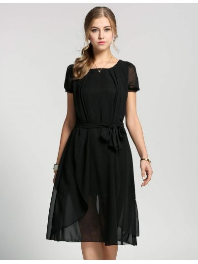 Black Short Casual Sleeve Belted Dress