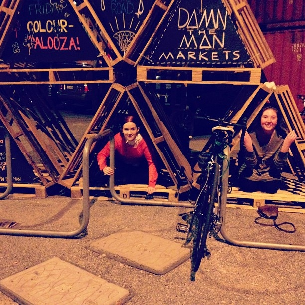 @elliehasanapples photo: hiding out in triangle crates at the depot night markets @mcevoy_  #thedepot #adelaidefringe #adelaide #instagood #instamood #hipster #friends