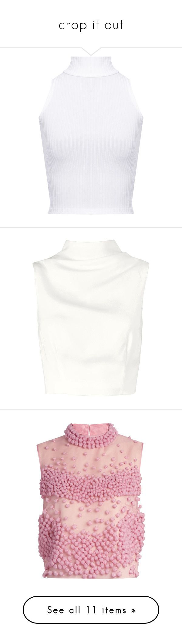 """""""crop it out"""" by sandylovee ❤ liked on Polyvore featuring tops, shirts, crop tops, blusas, white, white crop top, white sleeveless turtleneck, turtle neck crop top, white sleeveless shirt and white turtleneck"""