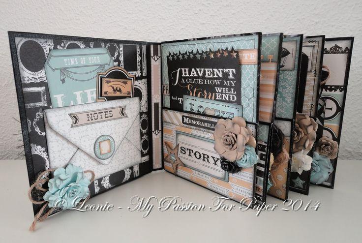 """Feb 2015 Teresa Collins """"Memorabilia"""" - Mini Album (using Gabrielle Pollacco's dimensional frame technique) by Leoni; My Passion for Paper"""