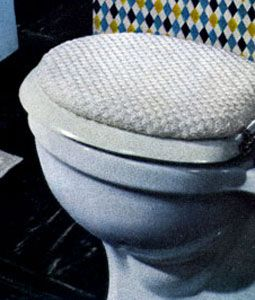 NEW! Toilet Seat Cover crochet pattern from Contemporary Crochet Throughout the Home, Coats & Clark's Book No. 508 from 1954.