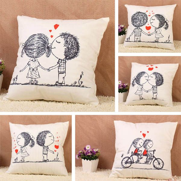 Linen Lovely Couple Pillow Case Home Office Car Cushion Cover