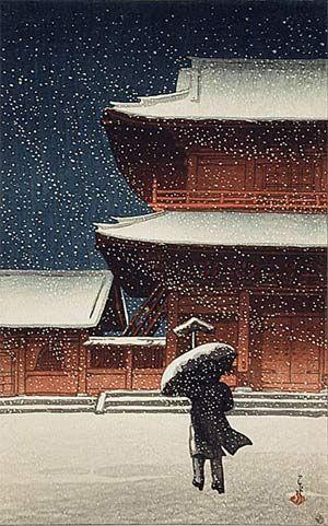 Kawase Hasui (1883-1957): Zenjoji In Snow (1922)