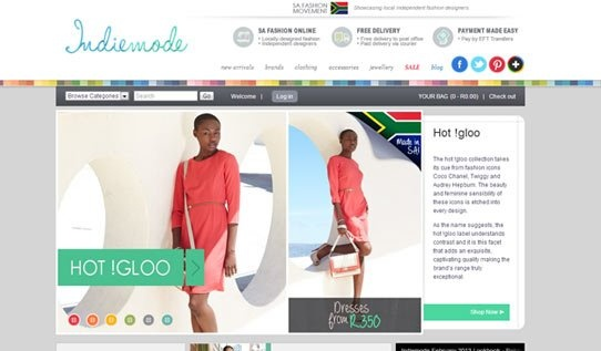 Indiemode.co.za is South Africa's first ecommerce store to exclusively feature local independent fashion designers. The store's unique design evidently upholds each designer's label and praises the talent SA has to offer, with the national flag making an appearance in a number of places on the site. The store interface truly epitomizes the company's goal of creating a fashion movement that is indie-inspired, free and laid-back but that also importantly empowers local South African designers.