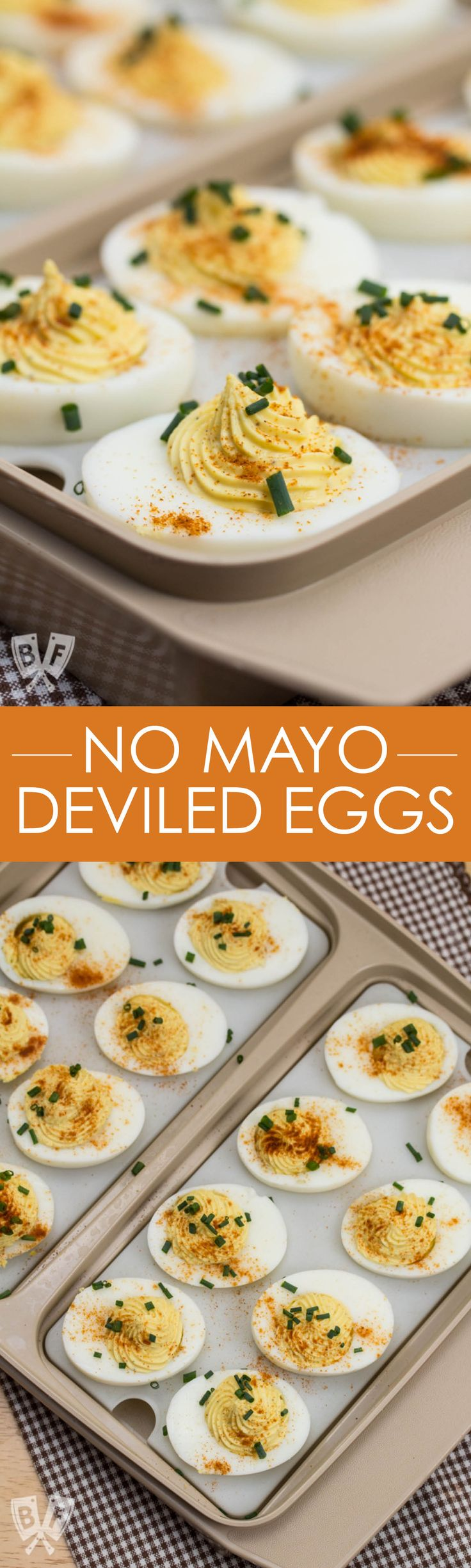 This easy to make, classic deviled egg recipe is a bite-sized party appetizer favorite! Perfect for game day, holiday gatherings, and dinner parties. Made with pantry staples - no mayo needed! | No Mayo Deviled Eggs | #partyfood #superbowl #gameday #deviledeggs