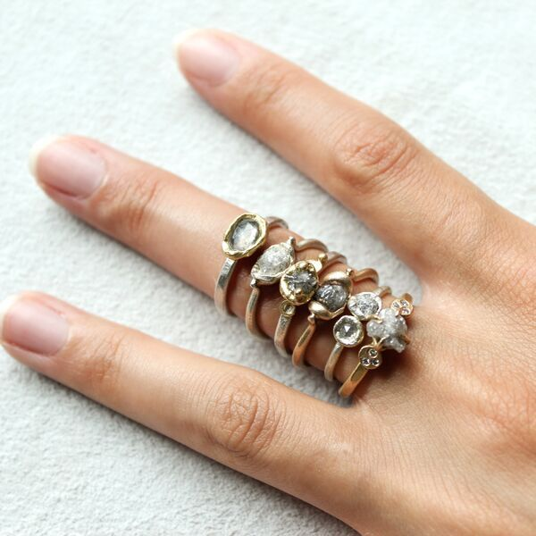 Saturday ring stack - rough diamond love