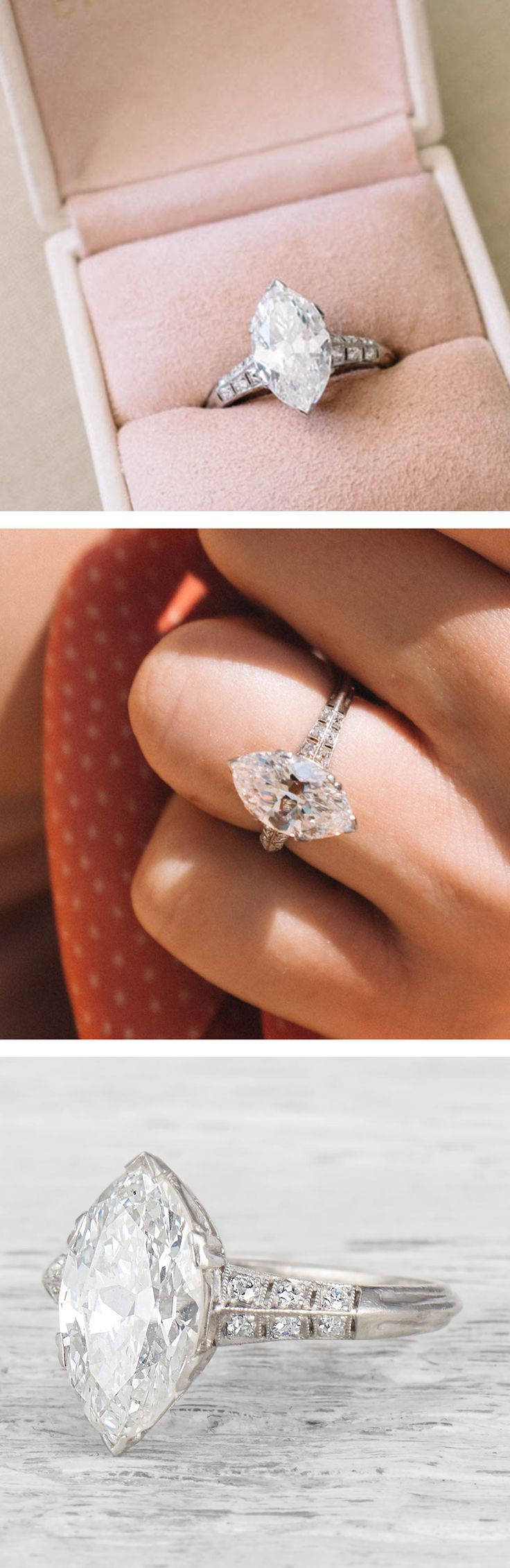 We love marquise cuts from the early 20th century. This vintage engagement ring from the Edwardian era has a beautifully cut 3.02 carat marquise set in an elegantly simple setting. Marquise elongate the finger and always appear bigger then rounder shapes the same carat size. While the diamond looks delicious and big the beautiful faceting of this antique diamond setting keep it ultra sophisticated.