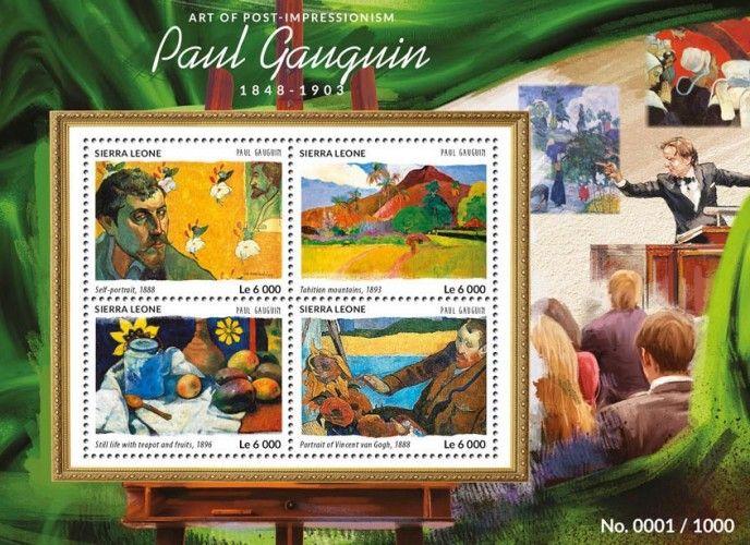 SRL15415a Paul Gauguin (Self-portrait, 1888, Tahitian mountains, 1893, Still life with Teapot and Fruits, 1896, Portrait of Vincent van Gogh, 1888)