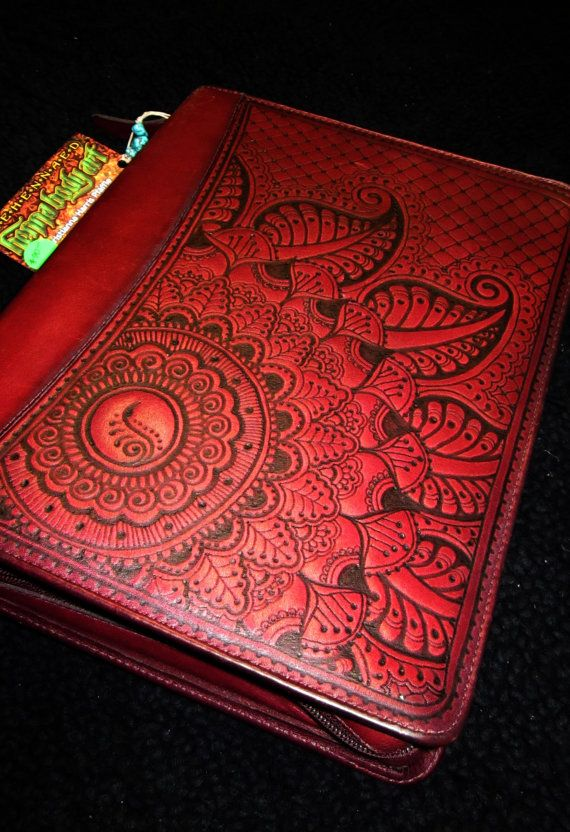 Cranberry Red Franklin Quest Leather Planner Cover, hand-burned henna - mehndi designs