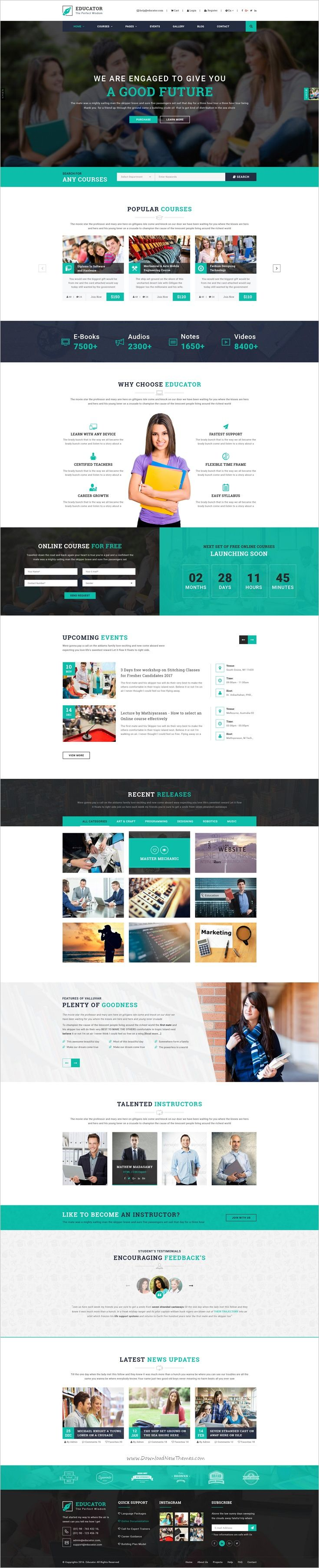 Educator is an unique and modern #PSD template for #University, #College, Kindergarten, Courses Hub, Training Center, Academy, School, LMS or any educational websites with 6 different homepages and 30+ organized PSD pages download now➩ https://themeforest.net/item/valluvar-education-multipurpose-psd-template/19189091?ref=Datasata