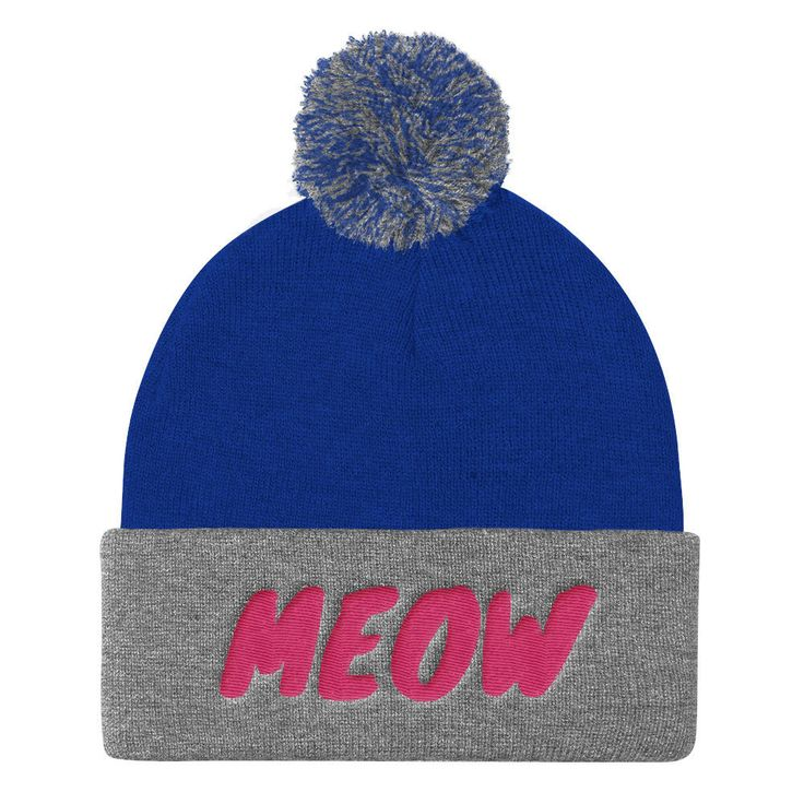 """CUTE BEANIES: """"Meow"""" Pom Pom Knit Cap, Cute Beanies, Cute Winter Hats, Cute Gifts, Pink, Cute Gift For, Sale by VinylLoversUnite on Etsy"""