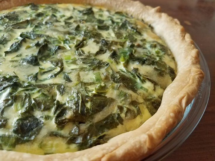 Kale, Green Onion, and Gouda Quiche