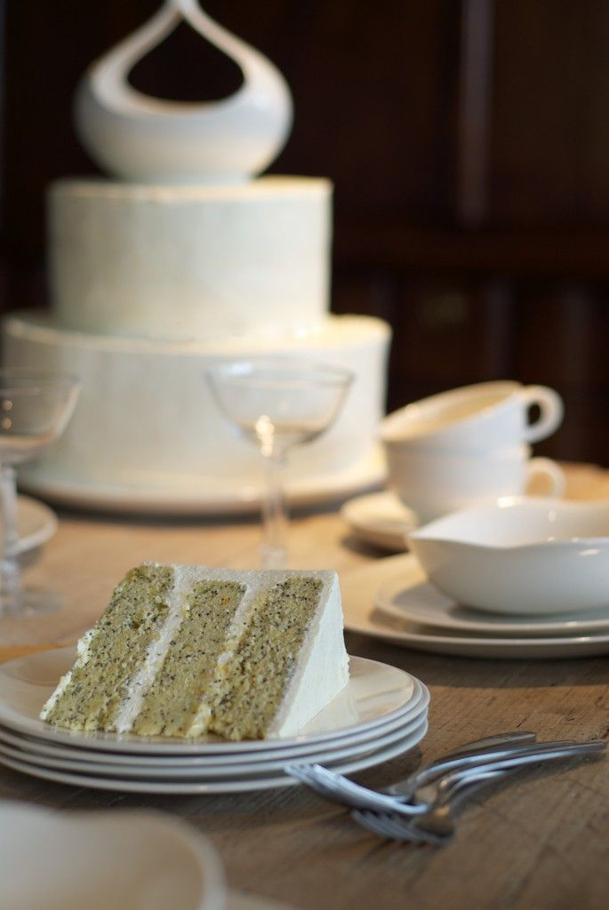 The clean lines of Century Dinnerware by Eva Zeisel inspired this Orange Poppy Seed cake that is frosted with an Orange Blossom Buttercream - I used the gravy boat as the cake top on these oval cakes that match the lines of the collection.