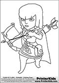 Coloring page with an Archer from Clash of Clans App. This coloring page show a Clash of Clans Archer troop, a ranged ground unit that deal low to medium amount of damage with relatively few hitpoints.  Print and color this Clash of Clans page that is drawn by Loke Hansen (http://www.LokeHansen.com) based on a Clash of Clans iPhone 5 App screenshot or game promotion.