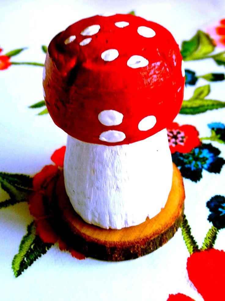 ~Paddestoel-ornamentje gemaakt met een kurk om zelf te maken~