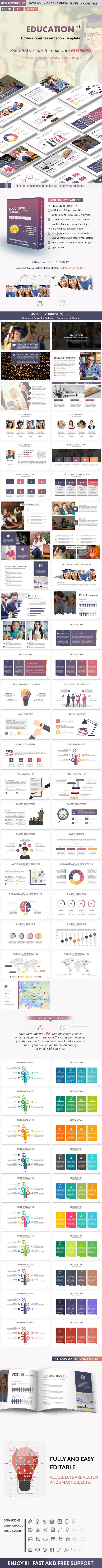 Education PowerPoint Presentation Template  Ideal PowerPoint to make academic presentations , clean, creative, simple, unique, scalable and multipurpose PowerPoint Template. All element easy to edit and you can easily change the color to match it with your personal or company brand, Save your time with 10Premade colors Themes which you can with Just One Click change the colors of all shapes and fonts and auto recolored .or you can make your own colors theme and apply it on all slides at…