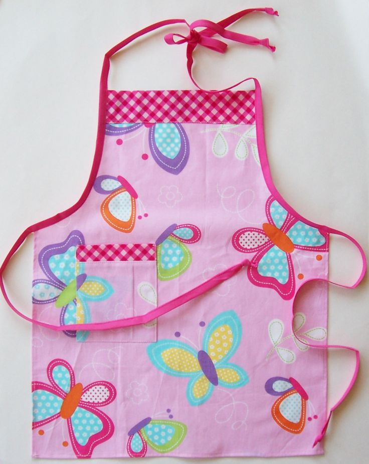Children's Butcher Apron : Size 4-8 (approximately) - Girls Apron, Butterfly Apron, Pink Apron, Childs Apron, Small Apron, Kids Apron by threadsandthings1 on Etsy