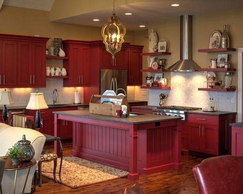 Barn Red Kitchen Cabinets   Red kitchen cabinets, Red ...