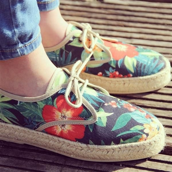 Tropical print! Love my new espadrilles by  Iris Venema