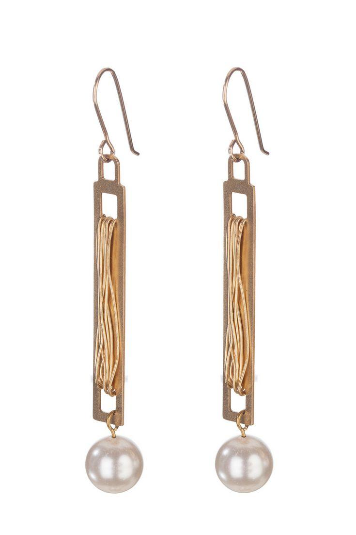 ab57325ec Pearl Gold Earrings, Gold Bar Earrings, White Pearl Everyday Earrings,  Modern Gold Long Earrings, Dangled Earrings, Geometric Drop Earrings  #pearl_earrings ...