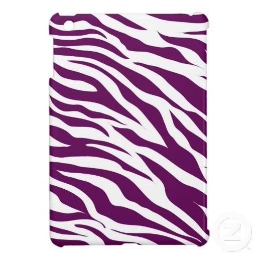 Trendy Purple White Zebra Stripe Wild Animal Print iPad Mini Cover