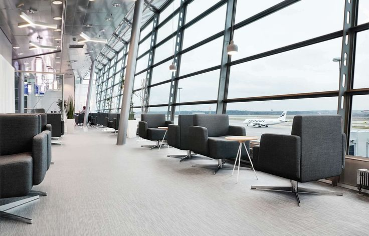 The Finnair Schengen Lounge at Helsinki Airport uses Bolon flooring