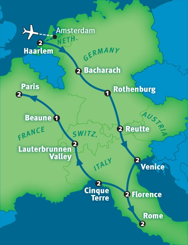 Rick Steves' Best of Europe in 21 Days Tour.. Think I would make a few detours/substitutions but ultimately stick to this outline.