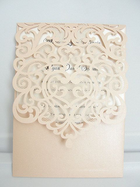 Wedding Invitation Laser Cut Wedding by LavenderPaperie1 on Etsy