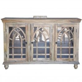 French Style Arched Glass Door Sideboard Natural