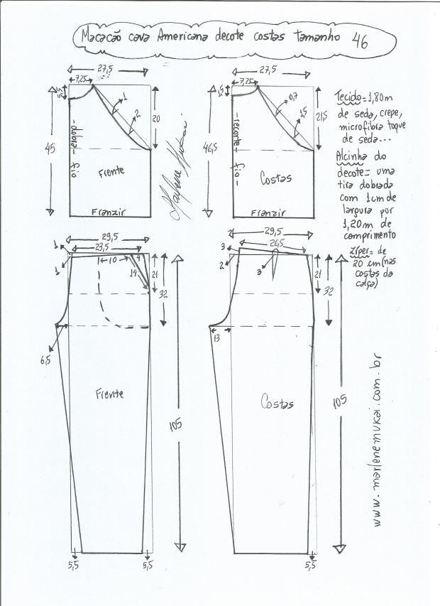 Patrón de mono con sisa americana | Patrones | Pinterest | Costura ...