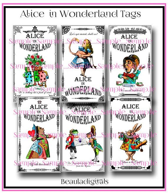 Alice in Wonderland Tags   Instant Download by Beauladigitals