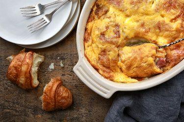 Recipe on this post.  French Lasagna: egg, ham, cheese, milk, croissants