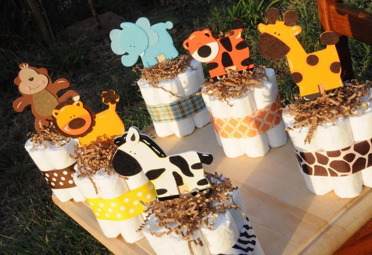 Diaper Cake Jungle Theme (((Set of 5))) Baby Shower Center Pieces (((YOUR CHOICE))). $34.00, via Etsy.