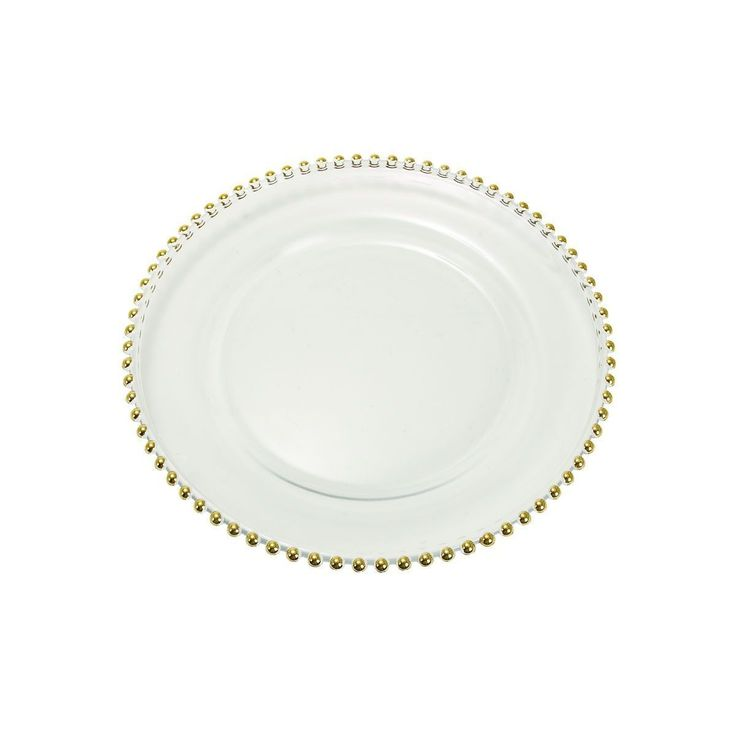 Studio 350 Traditional Glass Charger Plate (Glass Charger Plate 13D), Gold