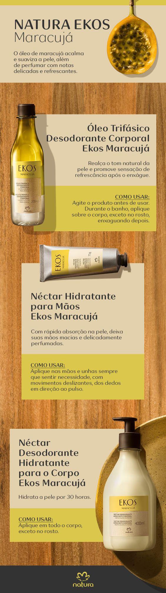 O óleo de maracujá acalma e suaviza a pele, além de perfumar com notas delicadas e refrescantes.