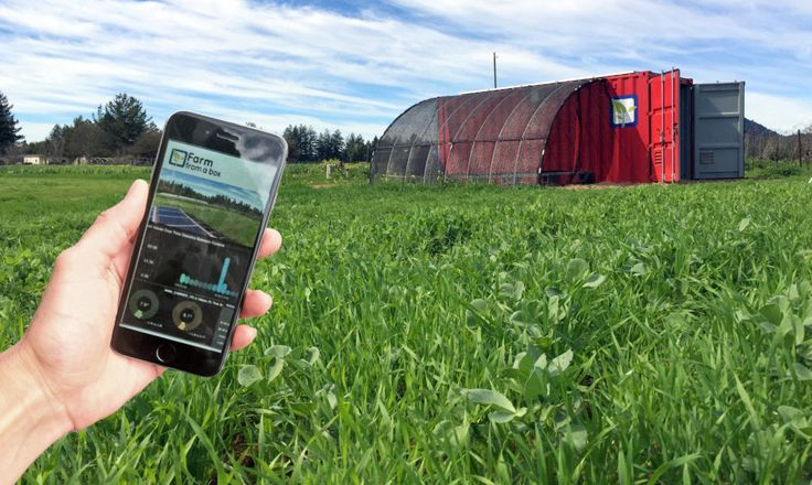 Farm From a Box fits all the essential equipment for a two-acre farm inside a shipping container, including solar power generation and a complete water system.
