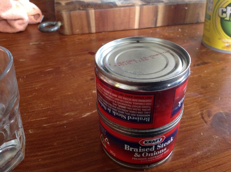 Look what else i found in my pantry, 2 cans of braised steak and onions... That are 7 years old.
